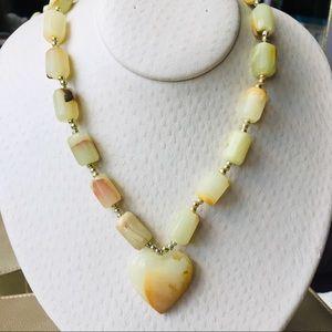 Jewelry - Vintage Genuine Botswana Agate Heart Necklace